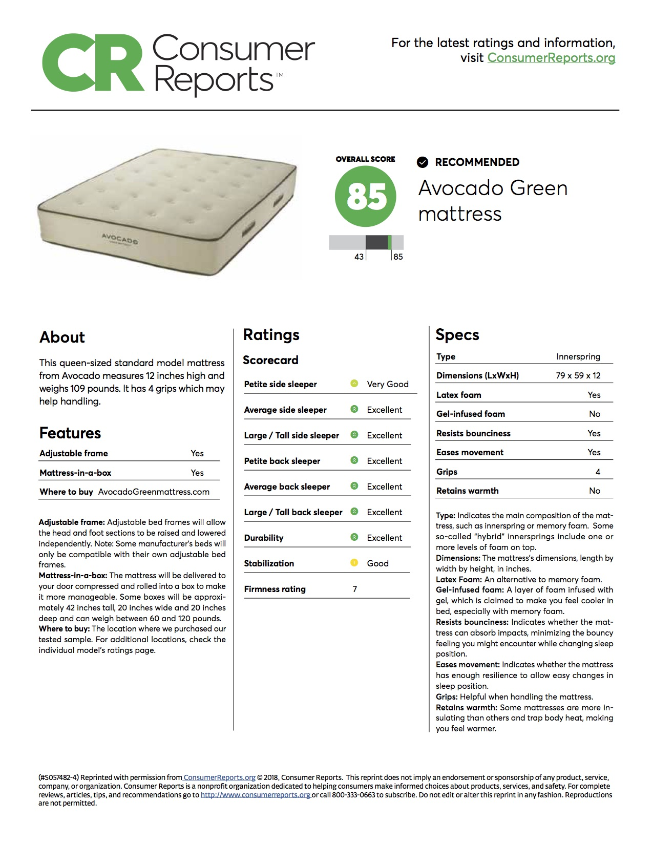 Ratings On Mattresses >> Consumer Reports Mattress Ratings Avocado Green Mattress
