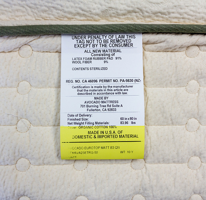 Green Mattress Legal Tag